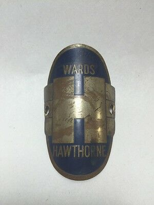 Vintage Wards Hawthorne Metal Bicycle Head Badge