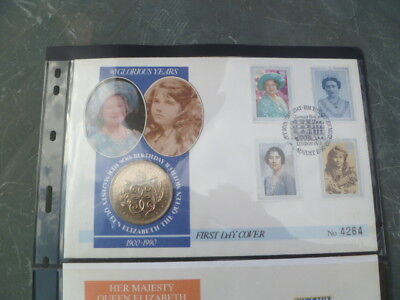Q Elizabeth Queen Mother 90th birthday 1st day cover with Royal Mint coins