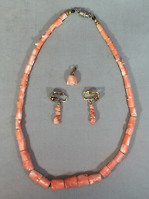 Vintage Polished Pink Coral Necklace, Clip-On Earrings, & Carved Rose Pendant