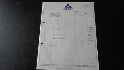 Queen Original Trident Concert Invoice Town Hall Cheltenham 14 May 1974