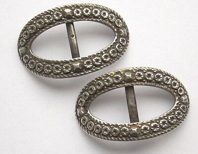Pair of antique decorative white metal shoe buckles 4.5 x 2.9 cm weigh 8g each
