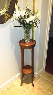 Antique Edwardian Mahogany jardiniere two tier pot stand
