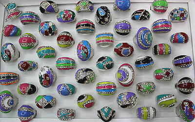 Job Lots 45pcs Multi-color Enamel Clear Rhinestone Assorted Charm Lady's Rings