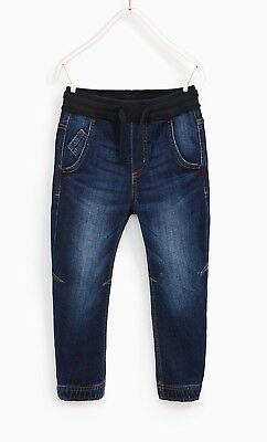 BNWT Boys Zara Denim Trousers Jeans With Ribbed Waist Band Age 10
