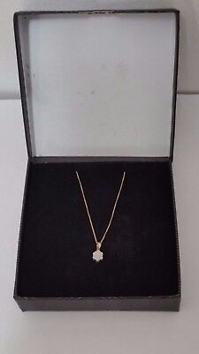 9ct Yellow Gold Curb Chain Diamond Cluster Pendant Necklace.