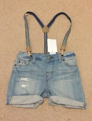 Boys Denim Shorts With Braces Age 18-24 Months New!!