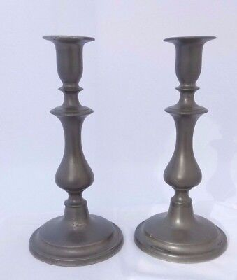 19th Century Pair of Pewter Candlesticks Baluster Form 9.25 '' or 23.5 cms Tall