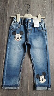 NEXT BOYS JEANS AGE 3-4 yrs MICKEY MOUSE,BRAND NEW,BLUE,DENIM,TROUSERS,BNWT