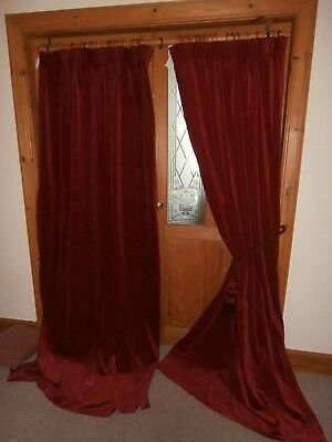 "Ruby Red Vintage Velvet Curtains.87""Drop - 90""Wide. Free Post"