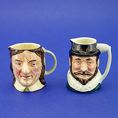 Two Vintage Lancaster Sandland Hand Painted Character Jugs - Raleigh & Cromwell