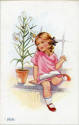 "Printed Childrens Postcard ""hello"", By Nina Brisley, Published By Vivian Mansell"