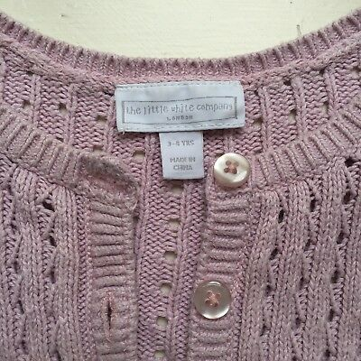 The Little White Company Pink Girls Cardigan 3-4 Years Cotton-Cashmere Blend