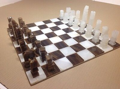 Magnificent Carved Marble Chess Set Aztec Inspired Modernist Design Artisan Made