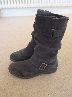 Moshulu Ladies Navy Blue Slouch Suede Boots Size UK 5 / Eu 38