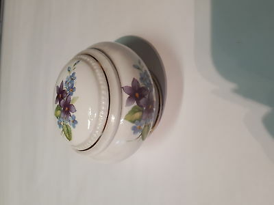 Small Round Trinket box with floral design in Bone China
