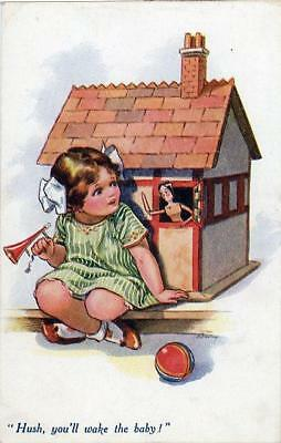 "Printed Childrens Postcard ""hush You'll Wake Baby"", Nina Brisley, Vivian Mansell"
