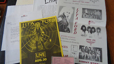 Lita Ford Promotional Cassette,promo Bundle And Concert Flyer And Poster
