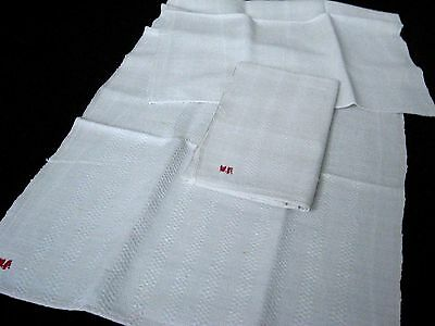 two old heavy handwoven wafer structured linen kitchen Towels (2)