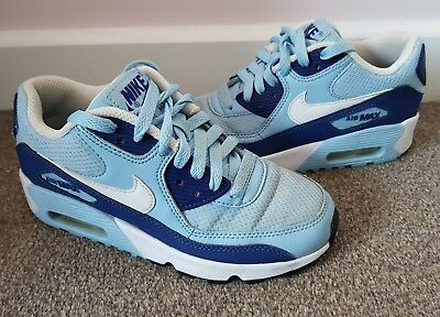 Nike Air Max 90 Ladies/Girls Light Baby Blue & Navy Trainers Size 3