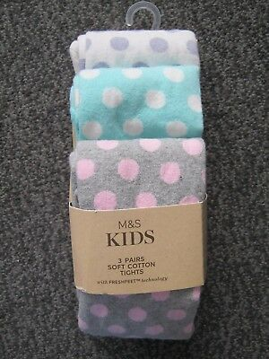 Marks & Spencer Kids 3 Pack Girls Tights Age 2-3Yrs Freshfeet Technology