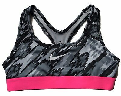 Nike Pro Allover Print Sports Bra Training Medium Support Black Pink Girls XL