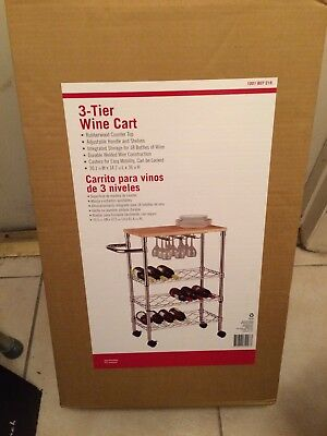 3 Teir 18 Bottle Metal Wine Cart With Rubber Wood Top In Chrome W/ Adj Shelves