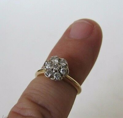 Size 4 Solid 14K Yellow Gold Diamond Cluster Sweetheart Promise Cocktail Ring