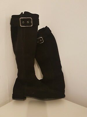 Russell and Bromley Black Suede Knee High Boots. Size 37 4.5