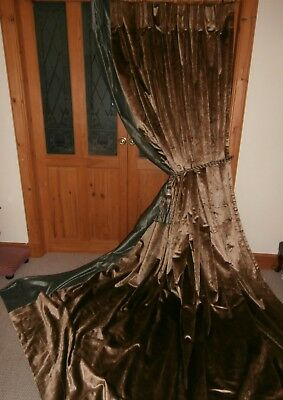 "Huge Bespoke Dark Gold Silk Velvet Curtains 120""Drop. Blackout Lining. TPP."