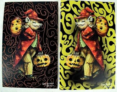 The Wizard of Swinesylvania Signed Numbered Halloween Postcard Set of 2 Fantasy!