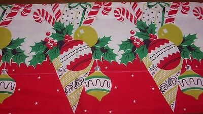 Vtg Mid Century Christmas Fabric Curtain Valance Table Runner Vibrant Colors