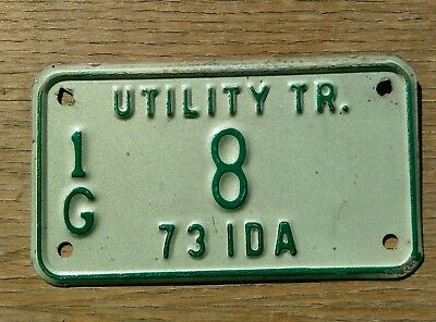 8  1973 Idaho utility trailer license plate from Gem county. #  8