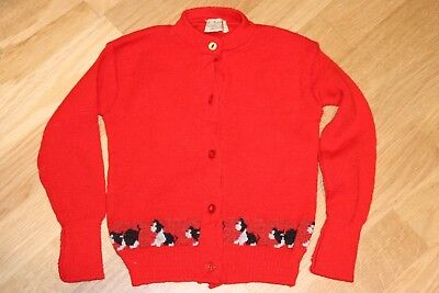 Vintage original 50s red novelty knit cardigan dog border Trekka 24in chest