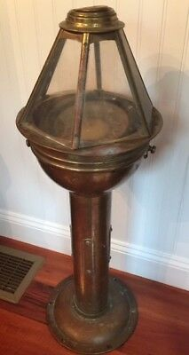 Vintage antique brass binnacle with compass from sailing schooner