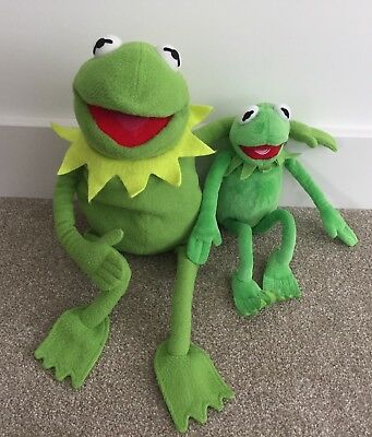 """Disney / Posh Paws The Muppets 24"""" & 15"""" KERMIT THE FROG Soft Toy & PJ Case"""