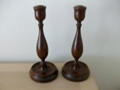A Vintage Pair Of Wood   Candlesticks  Nice Shape Good Quality
