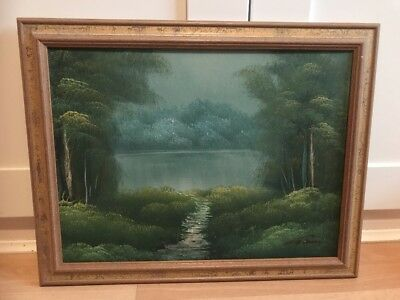 Lovely Signed Oil Painting On Board of Landscape In Gold frame