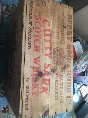 Vintage Berry Bros. & Rudd Cutty Sark Scotch Whiskey Wood Crate Box