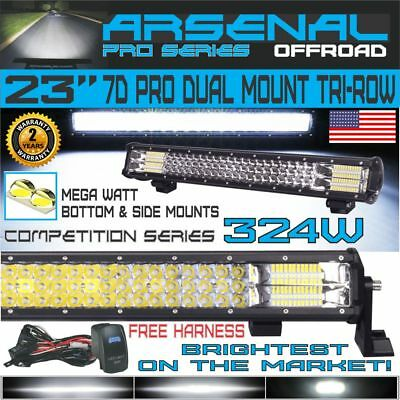 """No.1 TRI ROW 23""""INCH PRO Dual Mount LED Combo light Bar RZR OFFROAD TRUCK Can Am"""