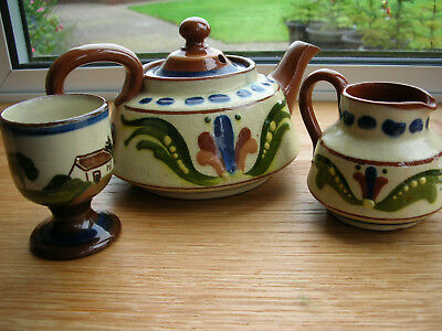 3 PIECE SET of TEAPOT, EGG CUP & JUG -TEA SELDOM SPOILS WHEN WATER BOILS""