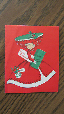 Vintage Christmas Card Featuring Young Lady