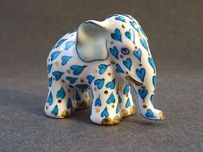 Herend Hungary Hand Painted Elephant Ornament Figurine Gold Blue Hearts