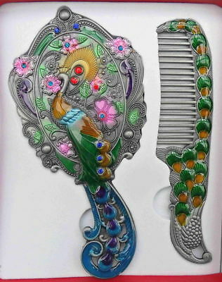 Collectible Handwork Royal Cloisonne Carved Peacock Flower Exquisite Mirror Comb