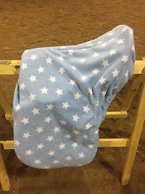 Fleece Saddle Cover Blue With White Stars