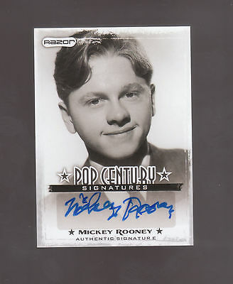 Mickey Rooney AUTO 2010 Razor POP CENTURY SIGNATURES Hollywood Legend