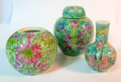 Three Miniature Antique Chinese Vases Jars Famille Rose Green Ground