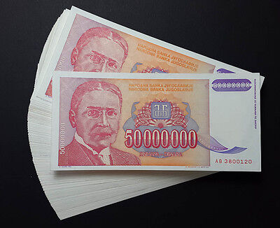Yugoslavia LOT of 100 notes 50 Million Dinara P-133 1993 HYPERINFLATION *AU-UNC*