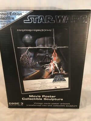 """Code 3 Star Wars A New Hope Style """"A""""  Movie Poster Sculpture NIB 2005"""