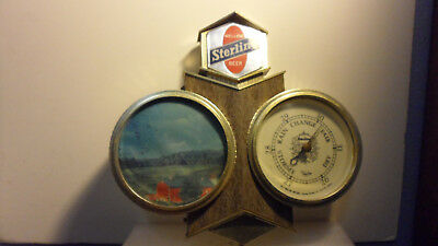 "VINTAGE STERLING MELLOW BEER SIGN with BAROMETER & SCENE   15""x14"""