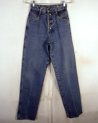 vtg 80s Rockies USA made Button Fly High Waist Denim Jeans Mom plaid flannel 5